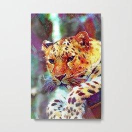 Watercolor Amur Leopard Metal Print