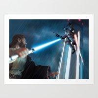 Art Print featuring Obi Wan Kenobi vs Jango Fett - Kamino Showdown by jcalum2012
