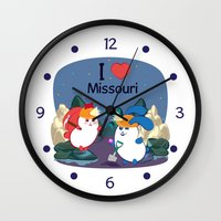 coraline Wall Clocks featuring Ernest and Coraline | I love Missouri by Hisame Artwork