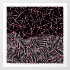 Ab Half an Half Black and Pink Art Print