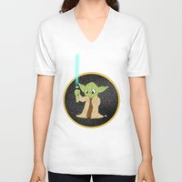 yoda V-neck T-shirts featuring Yoda by alittlecartoonie