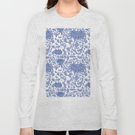 Chinoiserie Vines in Delft Blue + White Long Sleeve T-shirt