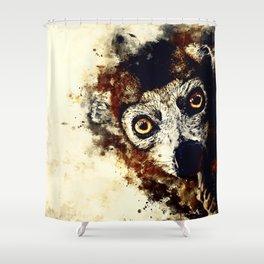 maki lemur ape ws fn Shower Curtain