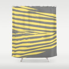 Yellow & Gray Stripes Shower Curtain