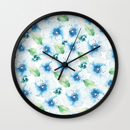 Hand painted blue white green watercolor floral pattern Wall Clock