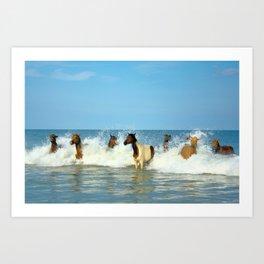 Wild Horses Swimming in Ocean Art Print