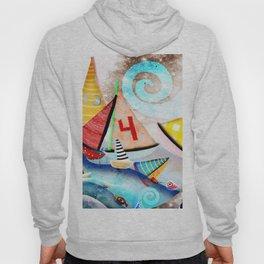 Wooden sail boat Love - Wild ocean waves Hoody