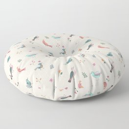 Pretty Birds and Flowers Floor Pillow