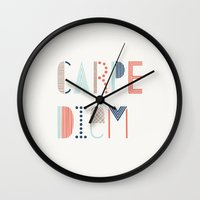 carpe diem Wall Clocks featuring Carpe Diem by Amber Barkley
