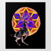stag Art Prints featuring STAG by The Traveling Catburys