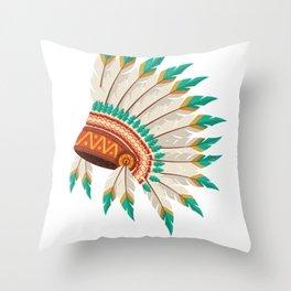 Indian Headdress Native American Art  Graphic Throw Pillow