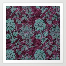 Burgundy Turquoise Velvet Floral Pattern 05 Art Print