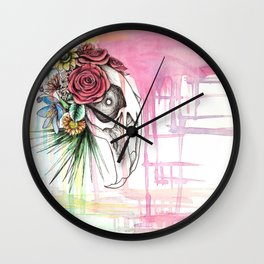 Skull and Flowers n.1 Wall Clock
