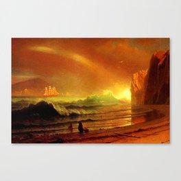 Classical Masterpiece Coastal Sunset by Albert Bierstadt Canvas Print