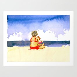 woman and daughter at the beach Art Print
