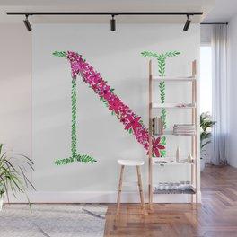 Floral Monogram Letter N Wall Mural