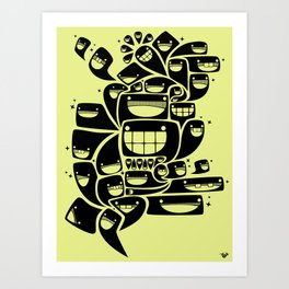 Happy Squiggles - 1-Bit Oddity - Black Version Art Print