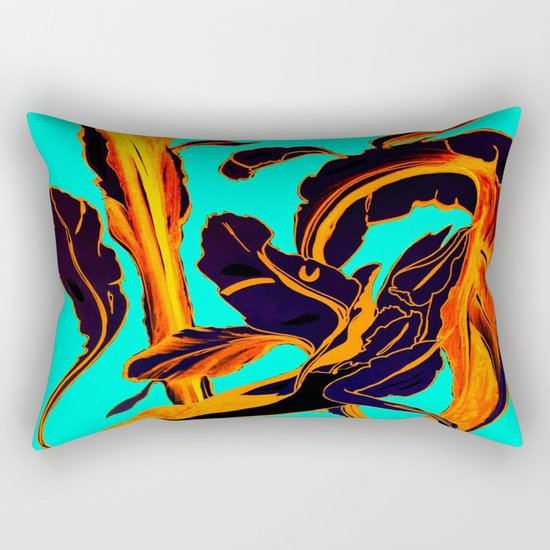 Blue Marker Teal Fire Phoenix Rectangular Pillow