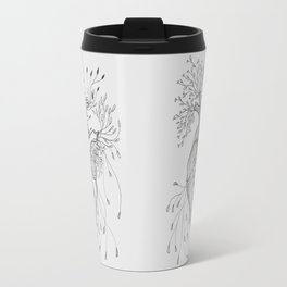 Blooming Heart lineart - black and white Travel Mug