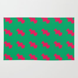 Red pattern green background Rug