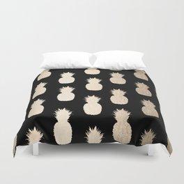 Gold Pineapples Pattern Black Duvet Cover
