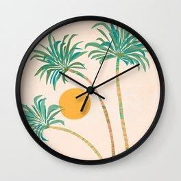 SoCal Palms / Tropical Illustration Wall Clock