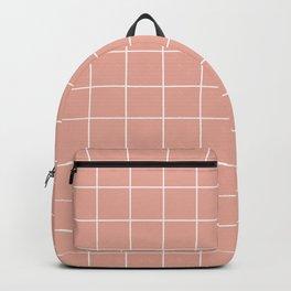 Grid Pattern Coral Pink White EAAC9D Stripe Line Minimal Stripes Lines Spring Summer Backpack