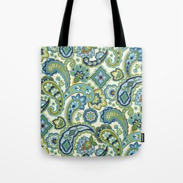 Blue and Green Paisley Tote Bag