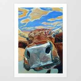 The Boy Down the Street Cow Portrait Art Print
