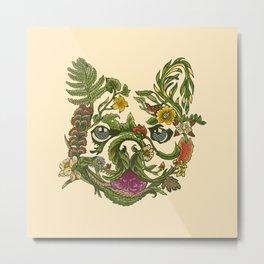 Botanical French Bulldog Metal Print