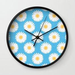 Spring Daisies_Blue Sky Wall Clock