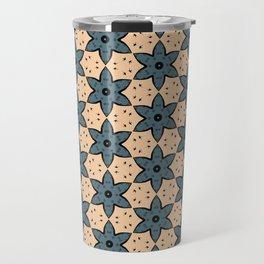 Blue Flower Kaleidoscope Pattern on Beige Background Travel Mug