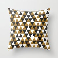 black and gold Throw Pillows featuring Black/Gold by T.Fischer