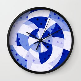 Polka Dots Blue Geometric Design Wall Clock