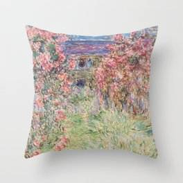 Monet, The House Among The Roses, 1917-1919 Throw Pillow