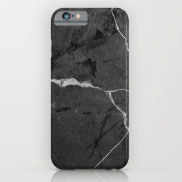 Black minimal marble iPhone Case