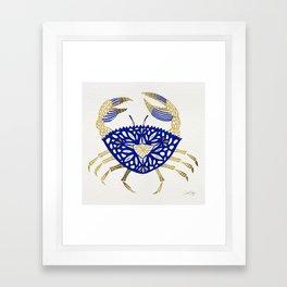 Crab – Navy & Gold Framed Art Print
