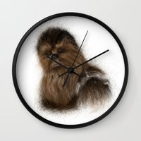chewbacca Wall Clocks featuring Chewbacca by KitschyPopShop