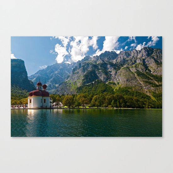 Outdoors, Church, Alps Mountains, Koenigssee Lake on #Society6 Canvas Print