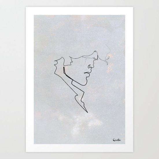 One line Blueberry Art Print