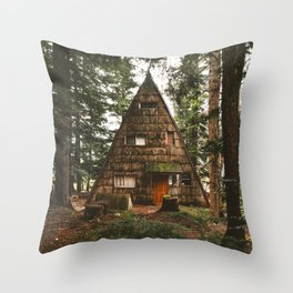 A-Frame Cabin in the Woods Throw Pillow