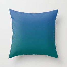 Blue Quetzal Green Gradient Pattern Throw Pillow