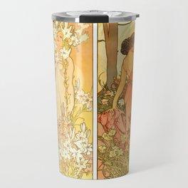 "Alphonse Mucha ""The Flowers (series): Iris, Lily, Carnation, Rose"" Travel Mug"