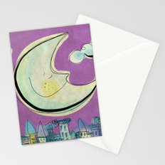 Moon - purple Stationery Cards