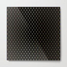 SKULLS PATTERN - BLACK & GOLD - SMALL Metal Print