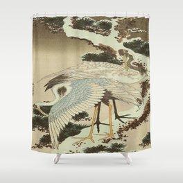 hokusai – two crane on a pine -bird,beak,plum,nature Shower Curtain