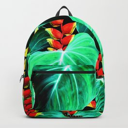 Bright Tropical Jungle Print With Caterpillars Backpack