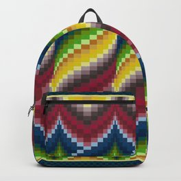 Bargello Quilt Pattern Impression 3 - red, blue, green, gold, ombre Backpack