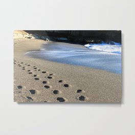 Beach Sand Footprints, Punakaiki Metal Print
