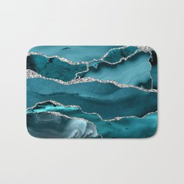 Glamour Turquoise Blue Bohemian Watercolor Marble With Silver Glitter Veins Bath Mat